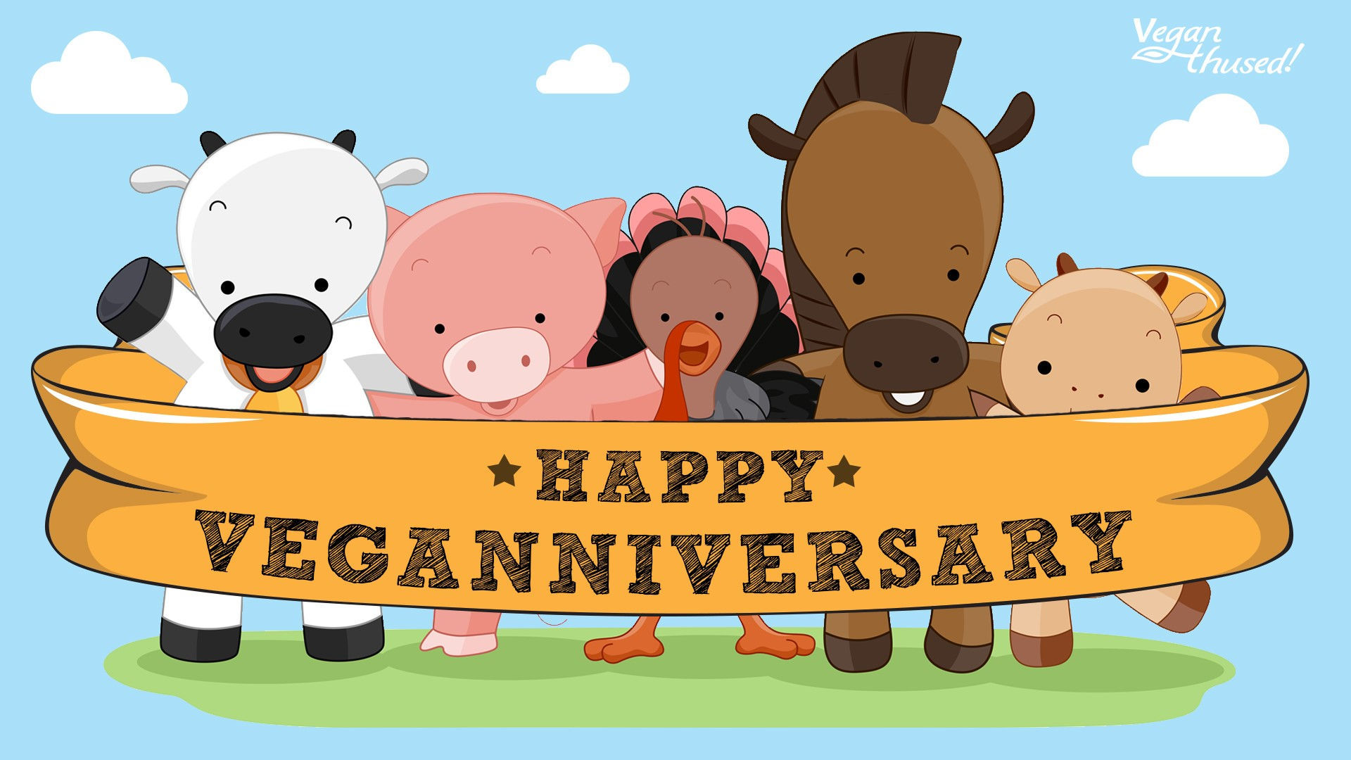 Happy_Veganniversary_cartoon_animals_with_logo